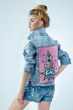 """Denim jacket """"Bang"""" of gently blue color. 100% COTTON. Hand painted.Woven label in organic cotton.NOT VINTAGE JACKET!"""
