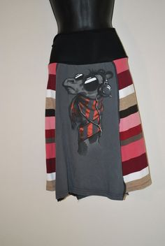 Recycled tee shirt skirt  large with spandex waistband