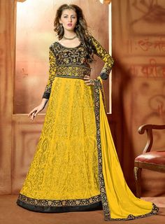 Net Thread & Zari Work Yellow & Black Semi Stitched Long Anarkali Suit -   #anarkalionline #onlinesuits #partywear #partywearsuits #StayTrendyWithIndiaRush #StayTrendy