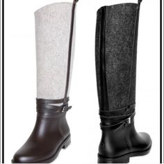 Leather-like black/dark grey rain boot New York's finest Gray and black Authentic Ferragamo Rain Boots. Salvatore Ferragamo has put an equestrian take on protective galoshes.  Leather-like black and dark gray boot. I wore them 2x. Functional like a hunter wellington - so chic with the wool/felt that people WILL stop you to ask where you got them. Better than Burberry and Hunters and other popular brands! The cutest! NOT HUNTER's - high fashion -listed as hunter's  4 exposure. They are size 6…