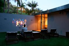 outdoor movie wall