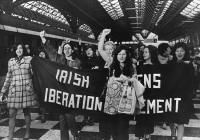 Supporters of the Irish Women's Liberation Movement's 'contraception train' arrive at Dublin's Connolly Station in May 1971. The feminist mo...