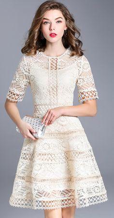 Sweet O-Neck Short Sleeve Embroidery Skater Dress
