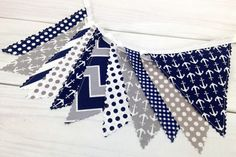 Bunting Banner, Photography Prop, Fabric Flags, Baby, Nautical Nursery Decor - Gray, Navy Blue, Chevron, Grey, Stripes and Anchors