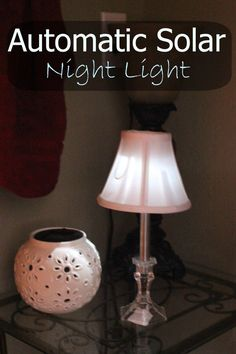 A simple, inexpensive solar night light made out of a solar light and candle holder (from the dollar store) and a chandelier lampshade.