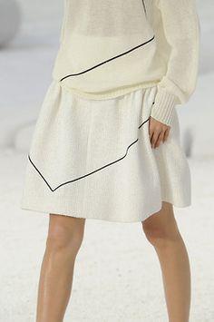 White skirt, off white sweater, geometric black detail #minimalist #style #fashion