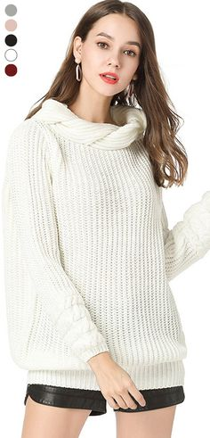 Amazing Casual Solid Color High Neck Sweater for Women on Newchic e1cf3d02e