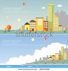 Flat design modern vector illustration icons set of urban landscape and city life - stock vector