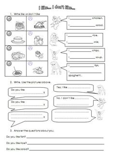 English teaching worksheets: Food likes and dislikes