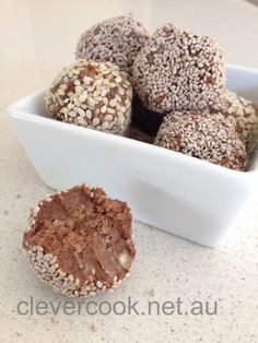 Chocolate nutty bites, tweaked the recipe a bit to my taste, and just smooched it into mini silicone ice cube trays. Easy peasy & yummy!
