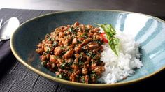"""""""My version of this classic Thai dish has spectacular taste even with regular basil instead of Thai or holy basil. The sauce actually acts like a glaze as the chicken mixture cooks over high heat. … Asian Recipes, Healthy Recipes, Ethnic Recipes, Thai Food Recipes, Meal Recipes, Vegetable Recipes, Pollo Thai, Thai Street Food, Chicken"""