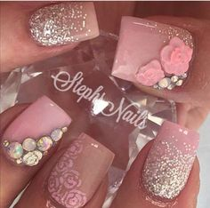 result for acrylic nails pink glitter Prom Nails, Bling Nails, Glitter Nails, Pink Bling, Opal Nails, Silver Nails, Silver Glitter, Acrylic Nail Designs, Nail Art Designs