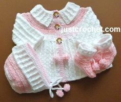 Free baby crochet pattern coat, bonnet and booties usa