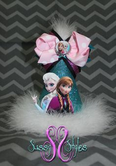 The perfect addition to your upcoming Birthday party! 3-in-1 Frozen Birthday Hat Accessory and Bow by SassyStylesbySS on Etsy. Features Anna and Elsa!