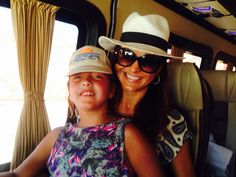 Mother and daughter in the comfortable minibus on their way to the lowest place on earth- the Dead Sea