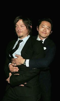 Norman Reedus and Steven Yeun goofin' around