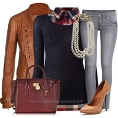 Plaid Shirt & Grey Jeans