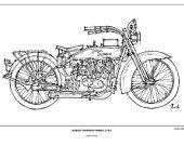 Motorcycle Art Print - HARLEY DAVIDSON Model J - 1921, Original Handmade Art Print, Vintage sketch of a terrific motorbike, Paper size  A3