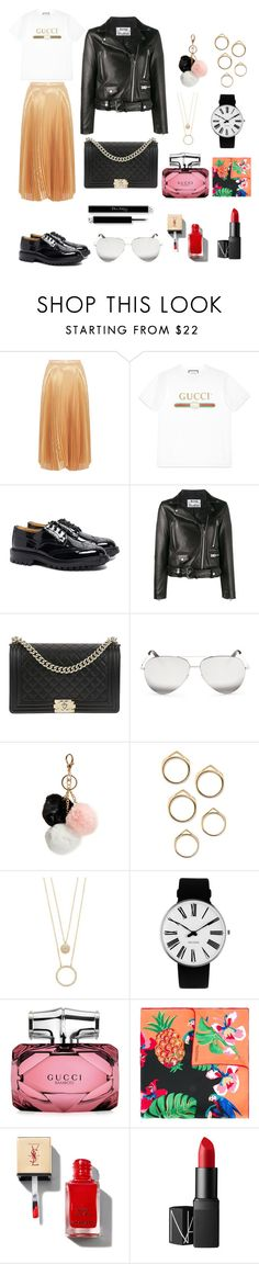 """gold shirt"" by mycky ❤ liked on Polyvore featuring Nicole Miller, Gucci, Tricker's, Acne Studios, Chanel, Victoria Beckham, GUESS, Kate Spade, Rosendahl and Valentino"