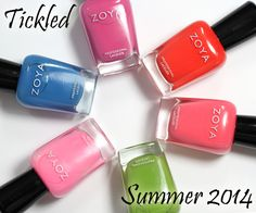 Zoya Summer 2014 Tickled Collection Swatches  Ordered the blue (Ling) and the pinky coral (4 o'clock) called Wendy. I can always give Wendy to my sister-in-law.