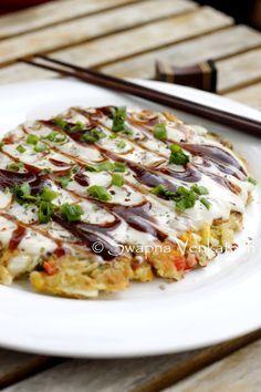 Okonomiyaki (Japanese Pancake/Pizza) Recipe via foodforswaps.blogspot.in