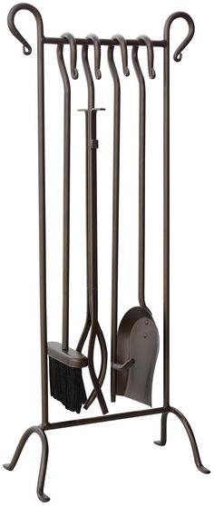 Features:  -Inline stand.  -Includes poker, shovel, brush, stand and log lifter.  -Bronze.  Product Type: -Fireplace tool.  Finish: -Bronze.  Material: -Iron. Dimensions:  Overall Height - Top to Bott
