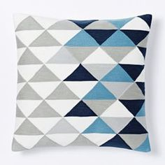 Optical Triangle Crewel Cushion Cover - Nightshade