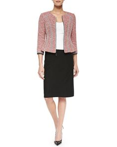 Nanette Lepore Arriba Tweed Blazer with Ribbon Trim with Heart Slayer Straight Skirt