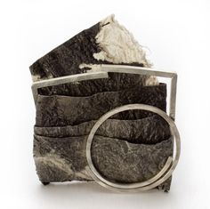 Myung Urso   Brooch. Mulberry paper, oriental ink, thread, lacquer, sterling silver.