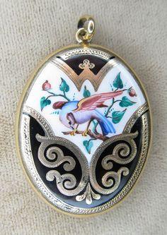 Victorian Enamel Bird Locket