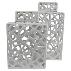 Large jars - An eye-catching addition to your console or desktop, this ceramic jar set showcases openwork silhouettes in crisp white.   Product: ...