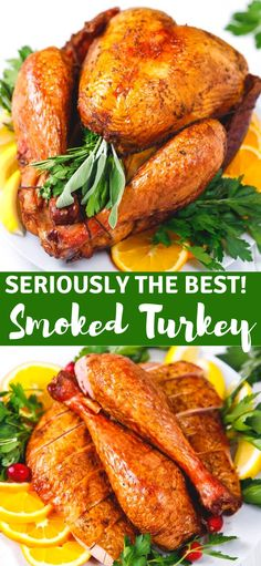 The Best Smoked Turkey Recipe – tender, juicy and flavorful, this is seriously the best smoked turkey you will ever have. Learn how to prepare, brine, season and smoke a turkey in an electric smoker. Smoked Turkey Brine, Easy Turkey Brine, Easy Turkey Recipes, Oven Roasted Turkey, Thanksgiving Recipes, Thanksgiving Turkey, Turkey Brine Recipe For Smoker, Turkey Grill, Christmas Turkey