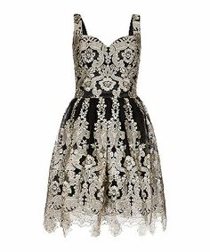 Black Pattern (Black) Chi Chi Black and Silver Metallic Embroidered Prom Dress    295275909   New Look