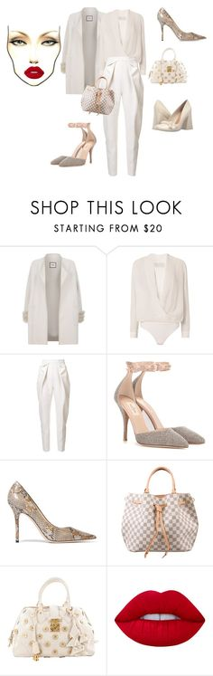 """""""Untitled #594"""" by effortless-and-natural ❤ liked on Polyvore featuring Max & Moi, Michelle Mason, Delpozo, Valentino, Jimmy Choo, Louis Vuitton, Lime Crime and Tory Burch"""
