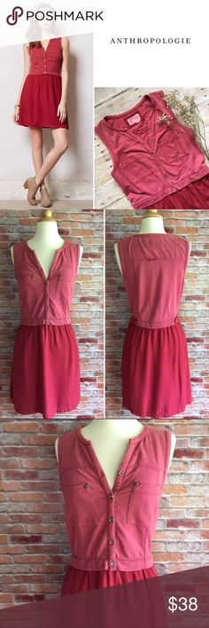"""Anthropologie Saturday Sunday red highway dress Weekends call for cozy, throw-on-and-go pieces (like this laidback silhouette from Saturday/Sunday) that can take you from morning lounge sessions to afternoon excursions. Side pockets. Pullover styling. Cotton, polyester, spandex. Machine wash. In excellent condition.36.5""""L. 18"""" bust, 15"""" waist both laying flat. Size medium. *Striped wedges are also for sale in my closet, buy the look and save! Anthropologie Dresses"""