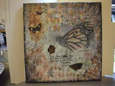 """""""Broken Wings""""   An original Mixed Media by me.  I used real pieces of a Monarch butterfly's wings.  Large butterfly is an image transfer."""