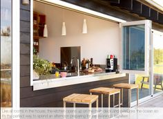 Summer kitchen table.... Indoor raised floor bench facilitates a table