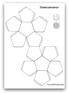 Printable Shapes: Alphabetical list of 3D geometric shapes, nets, patterns and coloring pages to print, cut and fold. Can use to create gift box template for crafts.