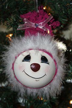 Hand painted Fuchsia Snow girl light bulb ornament by TracysCrtns, $12.00