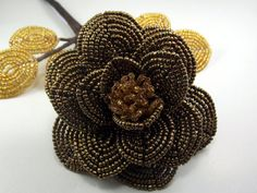 Brown Rose  French Beaded Flower