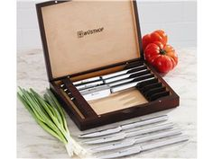 8-pc. Gifts for the Gourmet Steak Knife Set with Wood Case by Wusthof at Cooking.com #holidaycooking