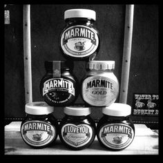 Marmite. We never had this at home, but now I've discovered it I'm addicted!  1st time my lot tried it they thought it was jam & put a HUGE dollop on their toast!  Now I'm not allowed to get it out if they're around!