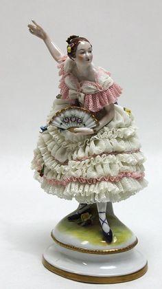 247: Dresden Porcelain Lace Ballerina Figurine : Lot 247
