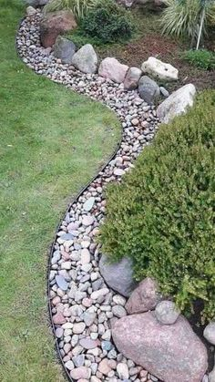 Dry Riverbed Landscaping, Landscaping With Rocks, Landscaping Tips, Front Yard Landscaping, Outdoor Landscaping, Hillside Landscaping, River Rock Landscaping, Natural Landscaping, Corner Landscaping Ideas