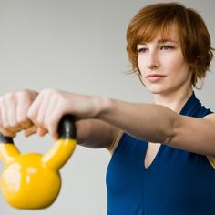 Kettlebell Workouts burn about 300 calories in 20 minutes while strengthening your core - I love kettle bells!!