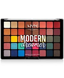 Makeup dreams are made of this: the NYX Professional Makeup Modern Dreamer Eyeshadow Shadow Palette. This expansive set features a stunning spectrum of 40 rich shades in foiled, matte and satin finishes. Nyx Eyeshadow Palette, Nyx Palette, Makeup Palette, Bronze Eyeshadow, Eyeshadows, Must Have Eyeshadow Palettes, Drugstore Eyeshadow, Lipstick Dupes, Green Eyeshadow
