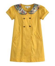 Yellow Floral Lapel Dress - Infant, Toddler & Girls
