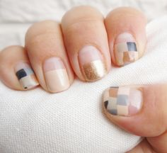 graphic neutral nails