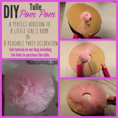DIY Tulle PomPom - perfect party or kids room decoration