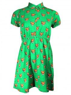 Green Foxy Face Tee Dress